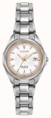 Citizen Frauen Titanband weißes Zifferblatt EW2410-54A