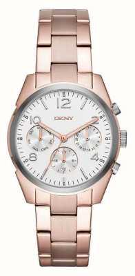 DKNY Womans Roségold Metallband weiß Chronograph Zifferblatt überzogen NY2472