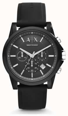 Armani Exchange Herren schwarzes Silikonband schwarzes Chronographen-Zifferblatt AX1326