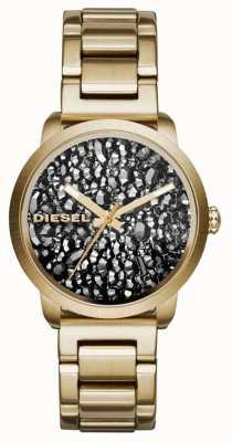 Diesel Womans vergoldet Edelstahlband gemustert Wahl DZ5521