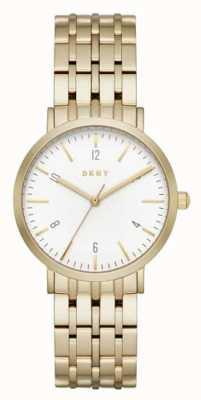 DKNY Womans Edelstahl Gold Maschenband runden Zifferblatt weiß NY2503
