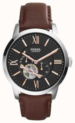 Fossil Mens braunes Lederband schwarz Chronograph Zifferblatt ME3061