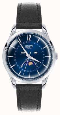 Henry London Knightsbridge Edelstahlgehäuse schwarzes Lederband HL39-LS-0071