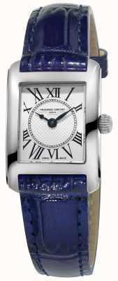 Frederique Constant Damen carree blau Lederarmband silbernes Zifferblatt FC-200MC16