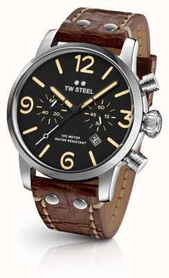 TW Steel Mens Einzelgänger Chronograph braunes Lederband Zifferblatt schwarz MS3