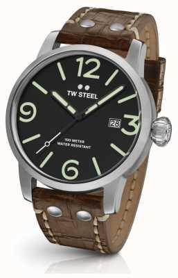 TW Steel Mens Einzelgänger braunes Lederband Zifferblatt schwarz MS11