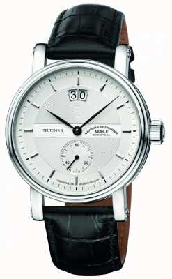 Muhle Glashutte Teutonia ii Großdatum Chronometer Lederband Silberzifferblatt M1-33-75-LB