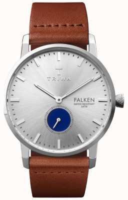 Triwa Herren blaues Auge falsches braunes Lederband Silber Zifferblatt FAST111-CL010212