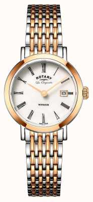 Rotary Womans windsor zwei Ton Silber Rotgold Metallband LB90155/01
