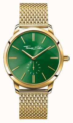 Thomas Sabo Womans glam Geist Stahl Gold Maschenband grün Wahl WA0275-264-211-33