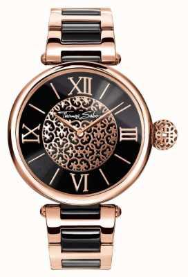 Thomas Sabo Zweifarbiges Karma-Armband für Damen mit schwarzem Zifferblatt WA0280-268-203-38