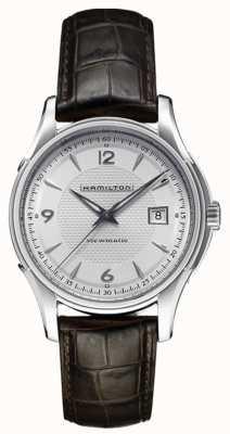 Hamilton Mens Jazzmaster viewmatic silbernes Zifferblatt Lederarmband H32515555