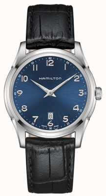 Hamilton Mens Jazzmaster Thinline-blaues Zifferblatt schwarz Lederband H38511743