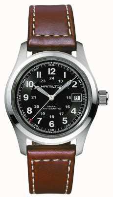 Hamilton Herren Khaki Feld 38mm Auto schwarz Zifferblatt braun Armband H70455533
