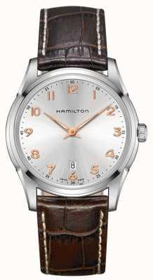 Hamilton Mens Jazzmaster Thinline-braunes Lederarmband silbernes Zifferblatt H38511513
