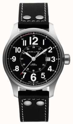 Hamilton Herren khaki Offizier automatische schwarzes Lederband Zifferblatt schwarz H70615733