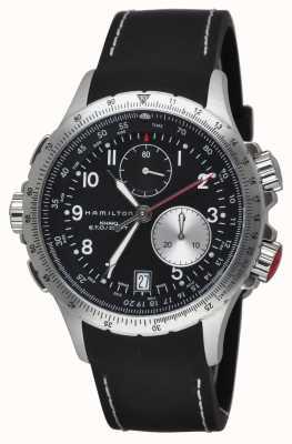 Hamilton Herren khaki ETO Flyback-Chronograph schwarzes Kautschukband H77612333