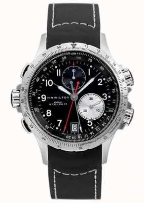 Hamilton Herren Khaki Eto Flyback Chronograph schwarz Kautschukband H77612333