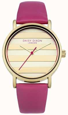 Daisy Dixon Damen Gold Zifferblatt Lederband Mohn rosa DD009PG