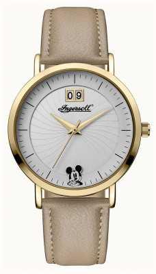 Disney By Ingersoll Damen Union der Disney beige Lederband silbernes Zifferblatt ID00503