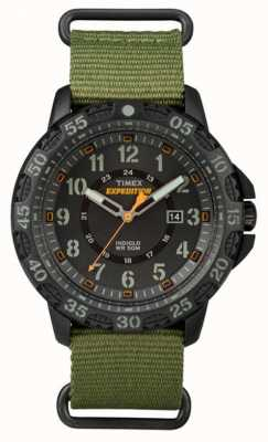 Timex Herren Gallatin grünes Stoffband schwarzes Zifferblatt TW4B03600