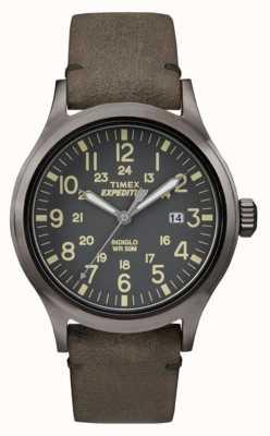 Timex Mens Scout schwarzes Zifferblatt grau Lederband TW4B01700