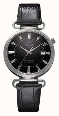 J&T Windmills Herrenuhr throgmorton mechanische Uhr schwarzes Zifferblatt Sterling Silber WGS10005/04