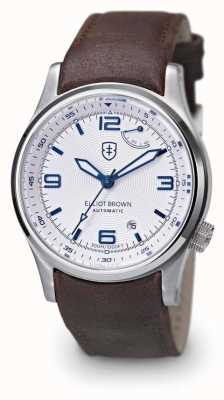 Elliot Brown Mens Tyneham braunes Lederband weißes Zifferblatt 305-004-L14