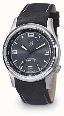 Elliot Brown Mens Tyneham schwarzes Lederband Zifferblatt schwarz 305-005-L15