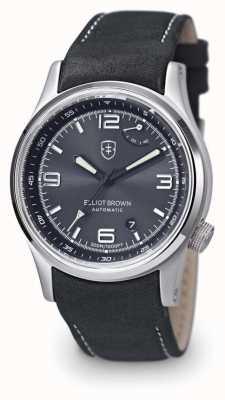 Elliot Brown Herren tynehamgraues Leder mit schwarzem Zifferblatt und Gehäuserückseite 305-D05-L15