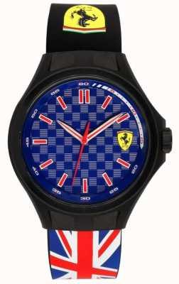 Scuderia Ferrari Mens Grube Besatzung Union Flagge Gummiband blau Zifferblatt 0830351