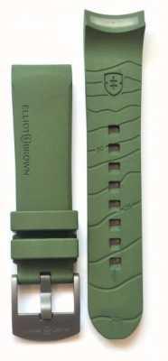 Elliot Brown Mens 22mm grüner Gummi-Rotguss-Zunge-Wölbungsgurt nur STR-R04