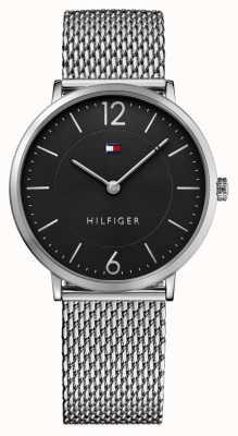 Tommy Hilfiger Mens james Edelstahlgewebe Armband schwarzes Zifferblatt 1710355