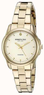 Kenneth Cole Womens Gold Tone Edelstahl Silber Zifferblatt KC10026480