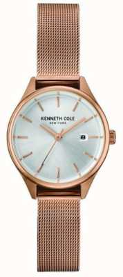 Kenneth Cole Womens Roségold Tone Edelstahl Mesh Silber Zifferblatt KC10030842