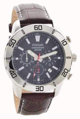Pulsar Herren-Chronograph braunes Lederband Zifferblatt schwarz PT3815X1