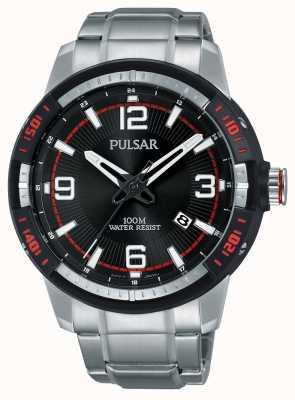 Pulsar Herren Edelstahl Armband schwarzes Zifferblatt PS9475X1