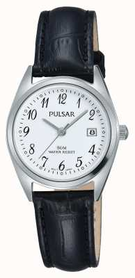Pulsar Damen schwarzes Lederband weißes Zifferblatt PH7447X1
