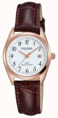 Pulsar Damen braunes Lederband weißes Zifferblatt PH7448X1