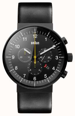 Braun Herren Prestige Chronograph schwarzes Lederarmband schwarzes Zifferblatt BN0095BKG