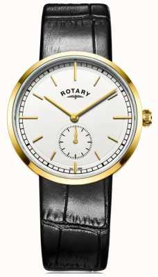 Rotary Mens canterbury schwarzes Lederband weißes Zifferblatt GS05062/02