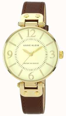 Anne Klein Damen braunes Lederband Gold Zifferblatt 10/N9168IVBN