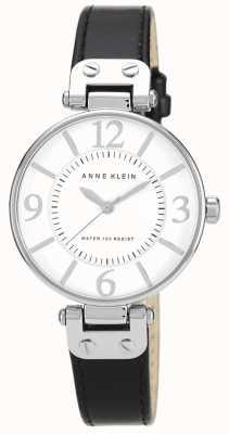Anne Klein Damen schwarzes Lederband weißes Zifferblatt 10/N9169WTBK