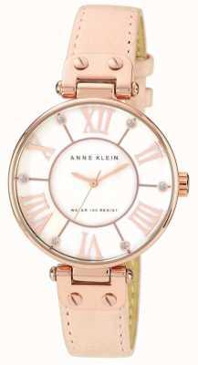 Anne Klein Damen rosa Lederband Creme Zifferblatt 10/N9918RGLP