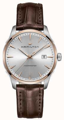 Hamilton Herren jazzmaster braunes Lederband silbernes Zifferblatt H32441551