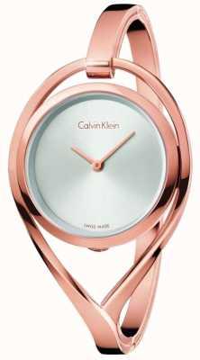 Calvin Klein Womens Licht kleine Roségold Tone Armreif Silber Zifferblatt K6L2S616