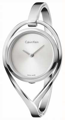 Calvin Klein Womens Licht kleine Edelstahl Armreif Silber Zifferblatt K6L2S116