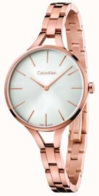 Calvin Klein Womens Grafik Roségold Tone Armband Silber Zifferblatt K7E23646