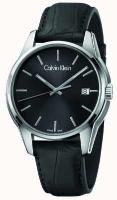 Calvin Klein Mens Tone schwarzes Lederband schwarzes Zifferblatt K7K411C1