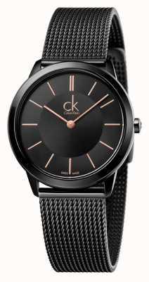 Calvin Klein Frauen minimal | Edelstahl schwarz Mesh-Armband | K3M22421